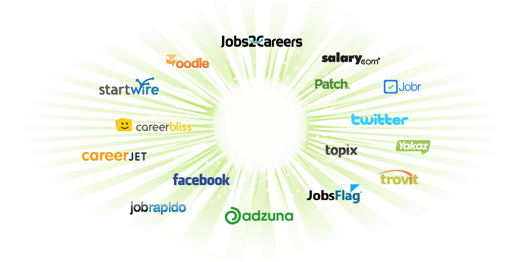 collection of job board logos surrounding a ZipRecruiter logo in the center