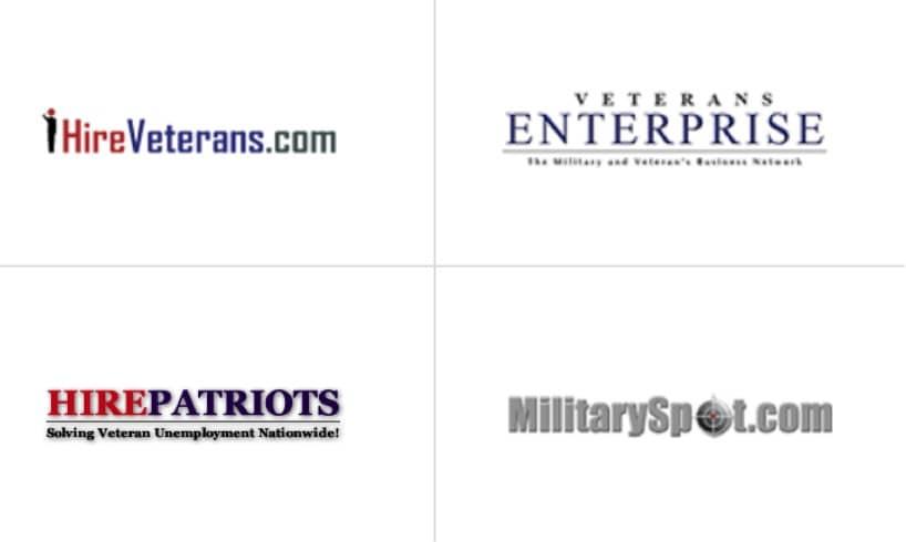 Logos for HireVeterans.com, Veteran Enterprise, and MillitarySpot.com