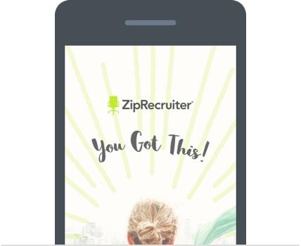 Phone with ZipRecruiter app